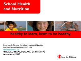 WASH and School Health & Nutrition
