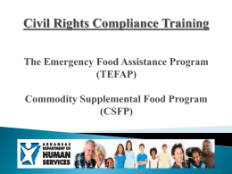 Civil Rights Compliance Training The Emergency Food