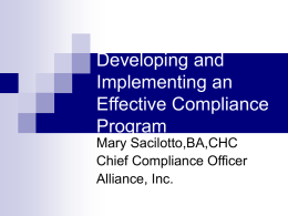 Developing an Effective Compliance Program