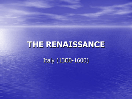 THE RENAISSANCE - Mr. Darby's History