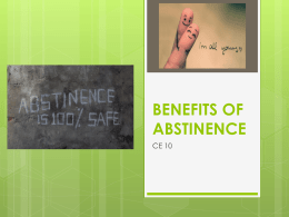 BENEFITS OF ABSTINENCE - Mr. DiDonato's Classroom