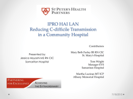 IPRO HAI LAN Reducing C-difficile Transmission in a