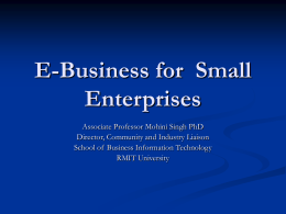 E-Business Opportunities for Small Enterprises