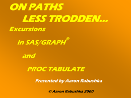 ON PATHS LESS TRODDEN…