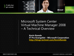 Microsoft System Center Virtual Machine Manager 2008 – A