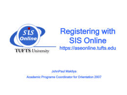REGISTRATION - Tufts University