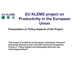 EU KLEMS Policy Presentation