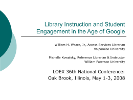 Library Instruction and Student Engagement in the Age of