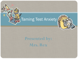 Taming Test Anxiety - Elementary School Counseling