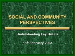 SOCIAL AND COMMUNITY PERSPECTIVES