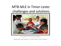 MTB-MLE in Timor-Leste: challenges and solutions