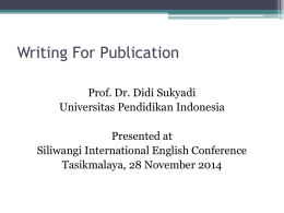 Writing For Publication - Universitas Pendidikan Indonesia