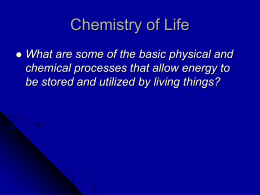 Chemistry of Life - Mrs.Gates Science Classes