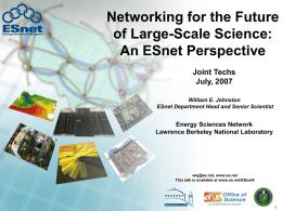 ESnet Defined: Challenges and Overview Department of