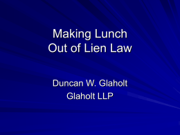 Making a Lunch out of Lien Law