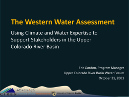 The Western Water Assessment