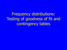 Frequency distributions: Testing of goodness of fit and