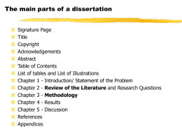 The main parts of a dissertation - Welcome to IOL E-mail