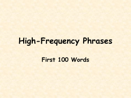 High-Frequency Phrases - Colchester School District