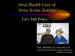 Senior's Oral Health - Dalhousie University