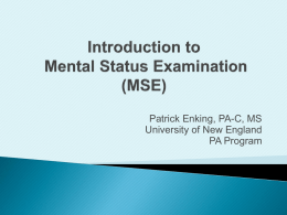 Introduction to Mental Status Examination (MSE)