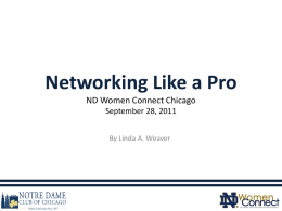 Networking Like a Pro ND Women Connect September 28, 2011