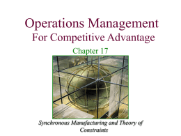 Production and Operations Management: Manufacturing and