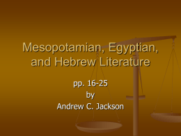 Mesopotamian, Egyptian, and Hebrew Literature