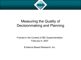 Measuring the Quality of Decisionmaking and Planning