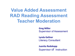 Value Added Assessment RAD Reading Assessment Teacher