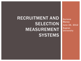 Recruitment and Selection Measurement Systems
