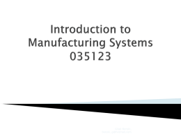 Manufacturing Systems - Technion – Israel Institute of