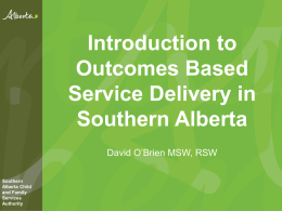 Introduction to Outcomes Based Service Delivery in