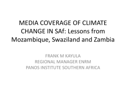MEDIA COVERAGE OF CLIMATE CHANGE IN SAf: Lessons from