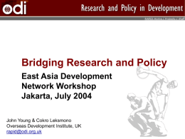 1 - John Young - Bridging Research and Policy