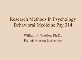 Research Methods - Francis Marion University
