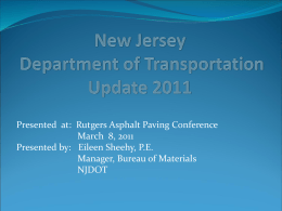 New Jersey Department of Transportation Update 2011