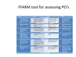 FFARM tool for assessing PO's