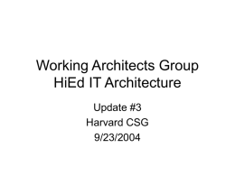 Working Architects Group HiEd IT Architecture