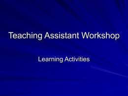 Teaching Assistant Workshop