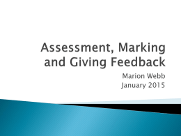 Assessment, Marking and Giving Feedback