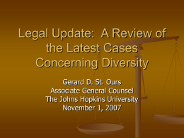 Legal Update: A Review of the Latest Cases Concerning