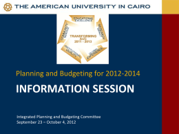 An Integrated Strategic Plan for AUC