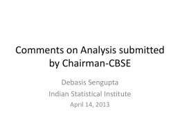 Comments on Analysis submitted by Chairman-CBSE