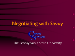 Negotiating with Savoy - Penn State Berks Home Page