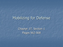 Mobilizing for Defense - Clayton Valley Charter High School
