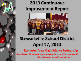 2011 Continuous Improvement Report Stewartville School