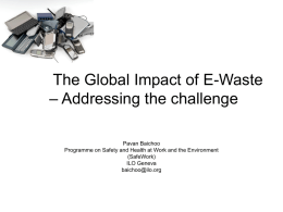 Electronic Waste -Issues, Scale of Use, OSH and