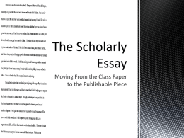 The Scholarly Essay