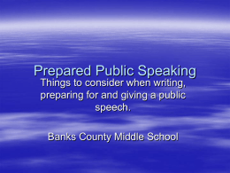 Prepared Public Speaking - Banks County School District